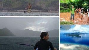 explorando una isla tropical en solitario bajo la lluvia