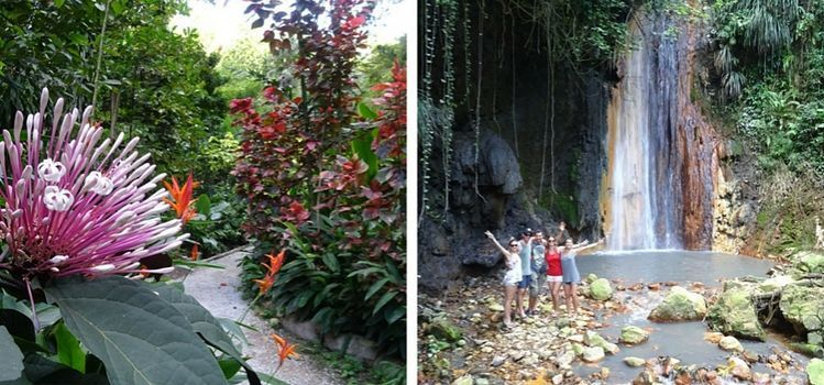 Isla de Santa Lucía. Diamond falls y jardín botánico
