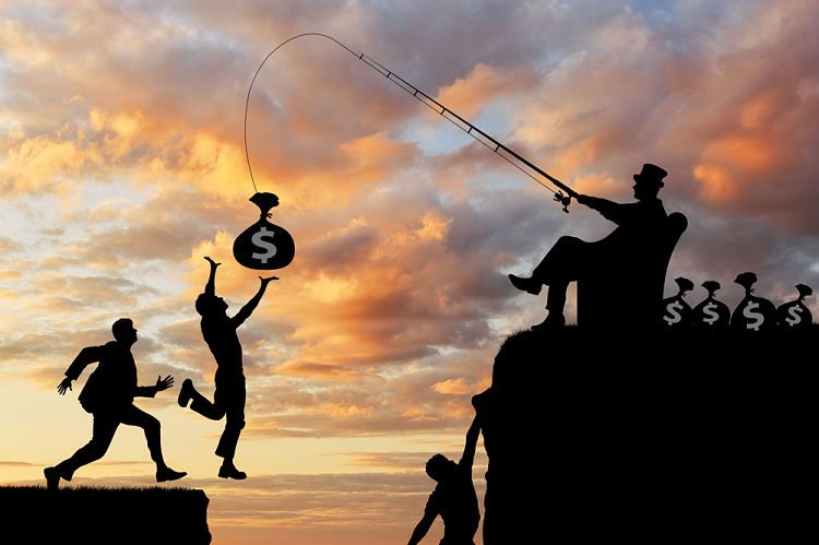 Sistema económico actual. La élite controla a los peones con el dinero.