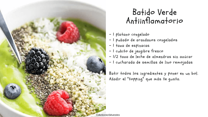 Dieta antiinflamatoria. Receta batido verde