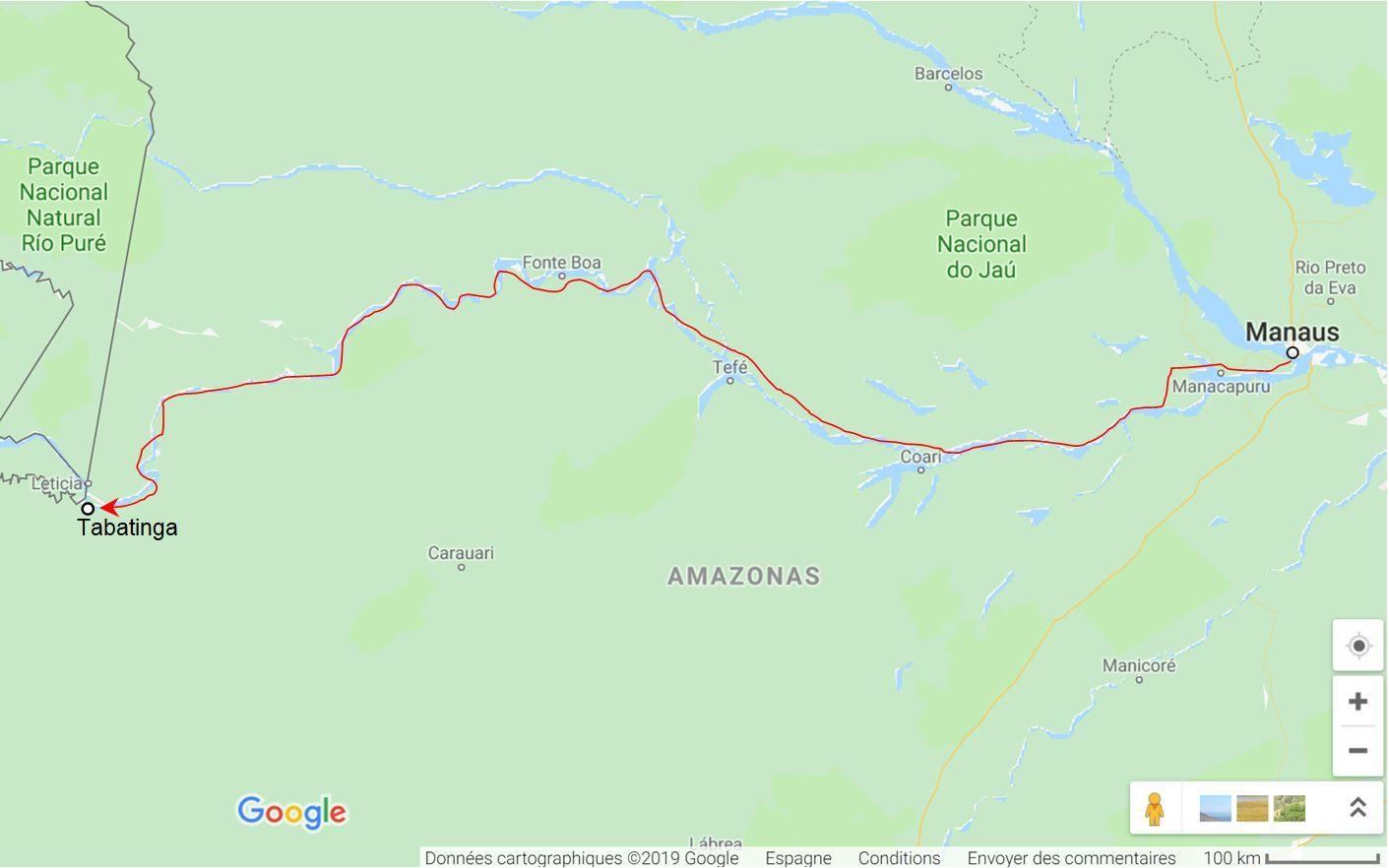 mi ruta para cruzar el Amazonas