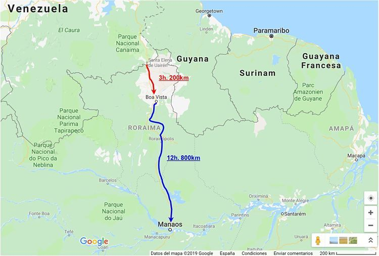 Mapa del trayecto para llegar a Manaos