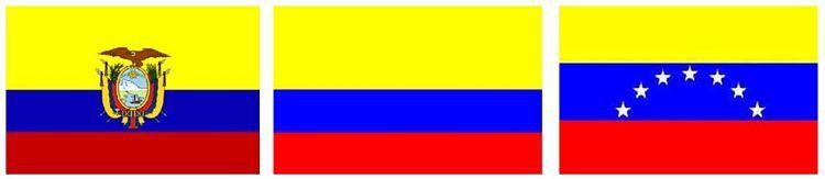 Banderas de Ecuador, Colombia y Venezuela