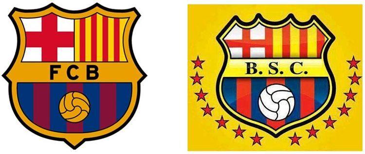 Escudos del Barcelona de Catalunya y del Barcelona de Guayaquil