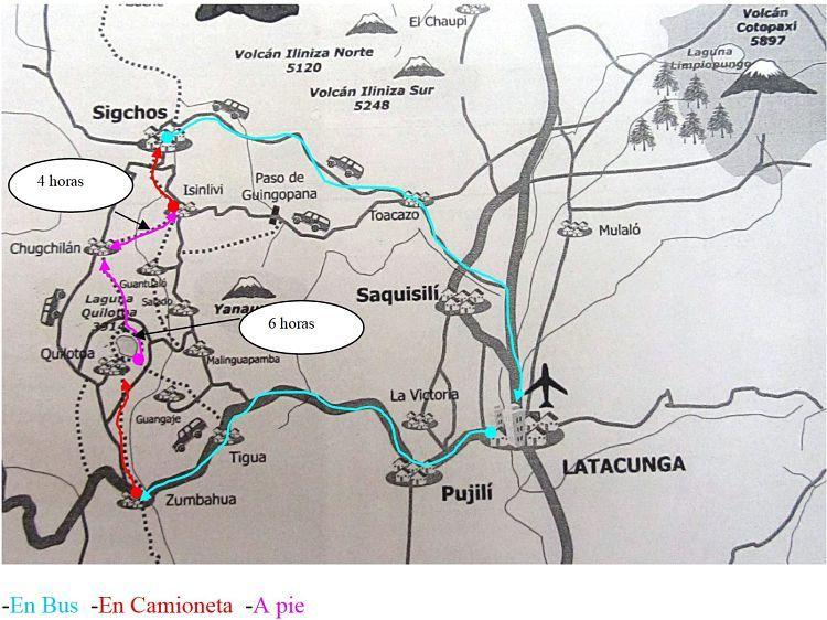Mapa del bucle de Quilotoa