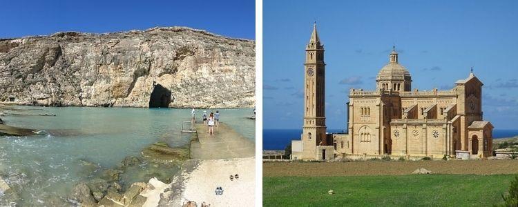 Inland Sea y Basílica de Ta'Pinu, en Gozo (Malta)