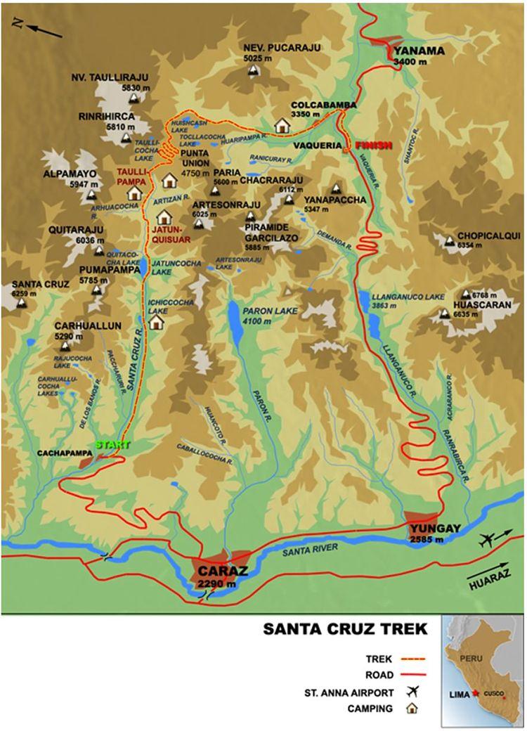 Mapa trekking Santa Cruz